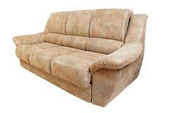 棕色皮革沙发 免版税库存图片