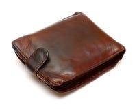 棕色皮革老钱包 免版税库存图片