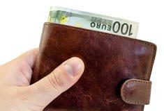 给从棕色皮革钱包的贿款有被隔绝的一百欧元的 免版税库存图片