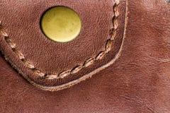 棕色皮革钱包纹理在高定义的 图库摄影