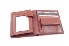 棕色皮革钱包 图库摄影