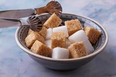 棕色碳水化合物饮食糖不健康的白色 免版税图库摄影