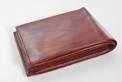 棕色空的皮革钱包 免版税库存图片