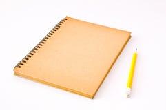 棕色笔记本螺旋 免版税库存照片