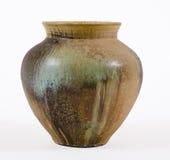 棕色绿色罐粗陶器 免版税库存照片