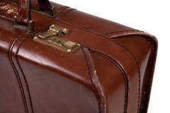 棕色老手提箱葡萄酒 免版税库存图片