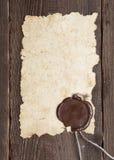 棕色老纸密封纹理蜡木头 免版税库存照片
