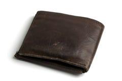 棕色老钱包 免版税库存图片