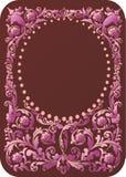 棕色花卉框架粉红色 皇族释放例证
