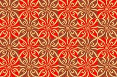 棕色花卉模式红色 库存图片