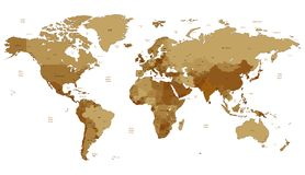 棕色详细映射世界 免版税图库摄影