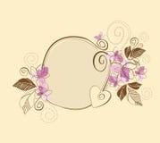 棕色逗人喜爱的花卉框架粉红色 免版税库存照片