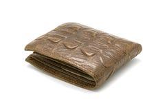 棕色钱包的图象由被隔绝的鳄鱼皮革制成 免版税库存图片