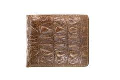 棕色钱包的图象由被隔绝的鳄鱼皮革制成 库存图片