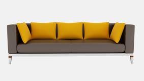 棕色长沙发桔子 免版税库存照片
