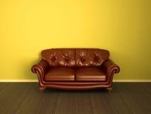 棕色长沙发皮革 库存照片