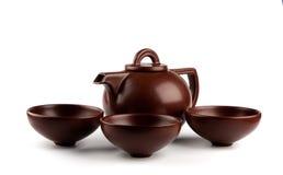 棕色陶瓷茶壶 免版税库存照片