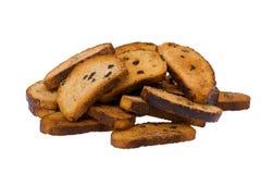 棕色面包干白色 图库摄影