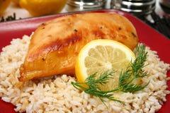 棕色鸡柠檬水米 免版税库存照片