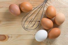 棕色鸡蛋表扫木 免版税图库摄影