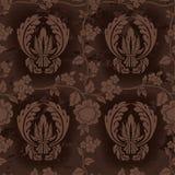 棕色黑暗的花卉模式 免版税图库摄影