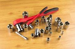 棘轮和加强螺栓的一套不同的附件 图库摄影