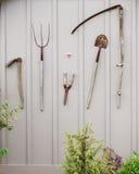 棚子用工具加工墙壁 免版税库存照片