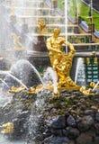 森山和狮子喷泉在Peterhof盛大小瀑布,圣彼德堡 库存照片