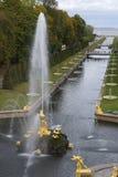 森山喷泉和海开辟10月下午 peterhof 免版税图库摄影