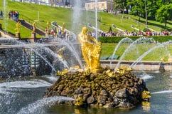 森山喷泉在Peterhof,俄罗斯 库存图片