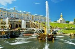 森山喷泉在Peterhof 库存图片