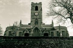 森德兰大教堂西部门面中间视图 免版税库存照片