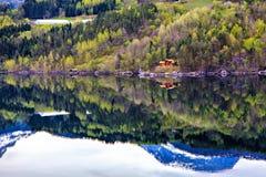森林、村庄、海和山,挪威 库存照片