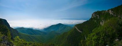 森林云彩的山全景 免版税库存照片