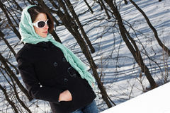 森林冬天妇女 免版税库存图片