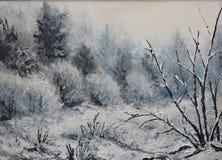 森林冬天风景,油画 库存图片