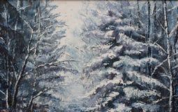 森林冬天风景,油画 免版税库存图片
