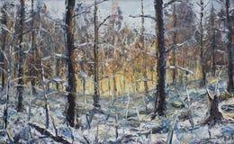 森林冬天风景,油画 免版税库存照片