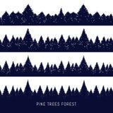 森林剪影背景 皇族释放例证
