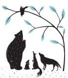 森林动物新闻会议 免版税库存照片