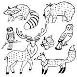 森林动物绘图墨集合 免版税库存照片
