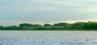 森林包围的大湖 免版税库存图片