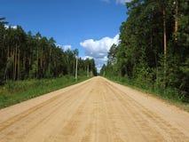 森林向无限的乡下公路 免版税库存照片