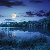 森林和湖在山附近在晚上 图库摄影