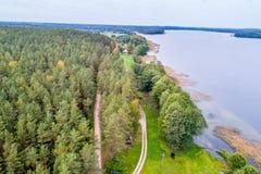 森林和湖空中射击 免版税库存图片