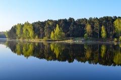 森林在森林湖的镇静大海被反射 在美丽的鸟云彩之上颜色及早飞行金子早晨本质宜人的平静的反映上升海运一些星期日 库存图片