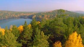 森林在秋天视图的秋天湖从天空 秋叶的湖反射 空中五颜六色的秋天叶子 免版税库存图片
