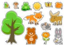 森林地动物和逗人喜爱的森林设计元素 库存图片