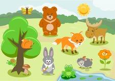 森林地动物和逗人喜爱的森林设计元素 免版税图库摄影