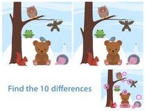 森林地动物孩子教育难题 免版税库存照片